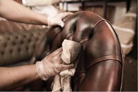 cleaning of hand coloured leather